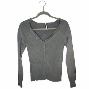 Free People Henley Ribbed Knit Long Sleeve Small